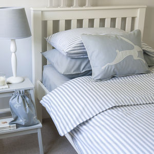 Ticking Stripe Blue Grey Duvet Cover - bedding & accessories