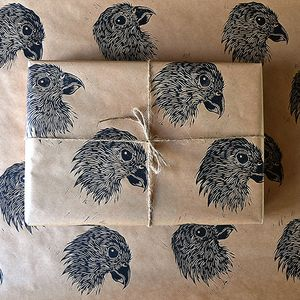 Hand Printed Bird Of Prey Wrapping Paper