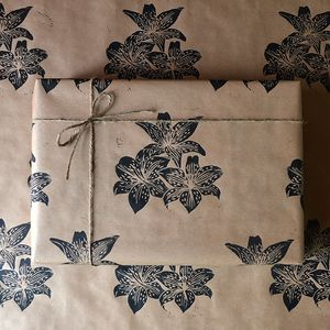 Hand Printed Floral Lily Gift Wrap - ribbon & wrap