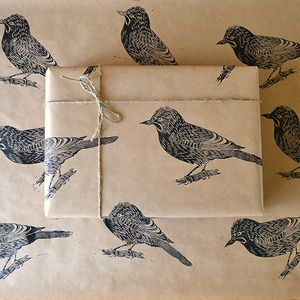 Lino Printed Jay Bird Wrapping Paper