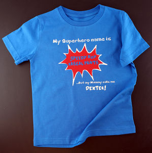 Child's Personalised Superhero Name T Shirt