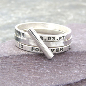 Silver Diagonal Stacking Ring - rings
