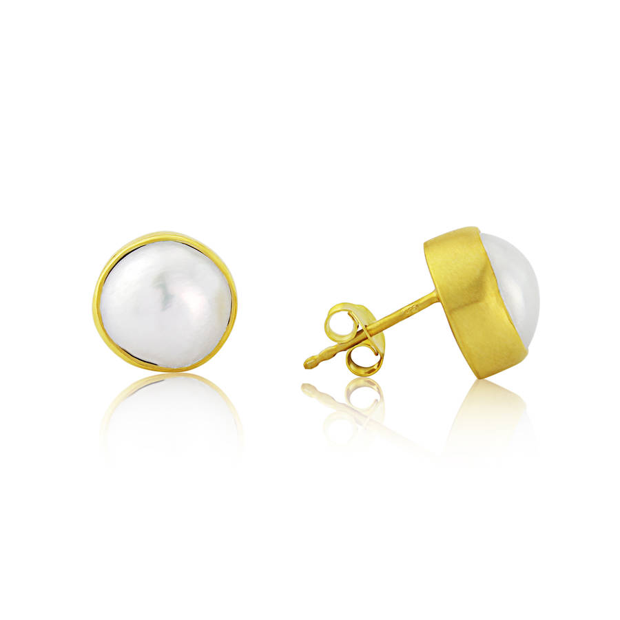 earrings baroque freshwater gold stud product pearl yellow