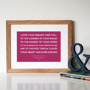 Personalised 'Graduation' Quote Print