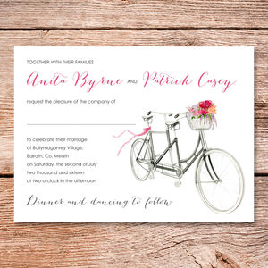 Bicycle For Two Wedding Invitation