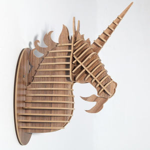 Wooden Animal Trophy Head Unicorn - unicorns