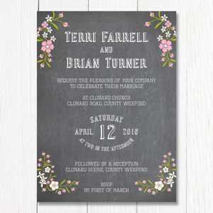 Chalkboard Bouquet Wedding Invitation