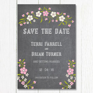 Chalkboard Bouquet Save The Date