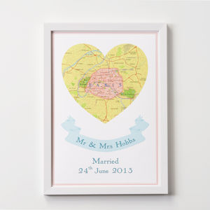 Personalised Map Heart Location Print A4 - contemporary art