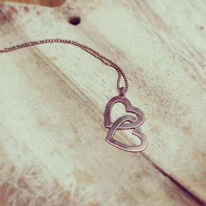 Personalised Double Heart Engraved Necklace