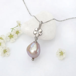 Pearl Drop Pendant With Diamond Flower - women's jewellery