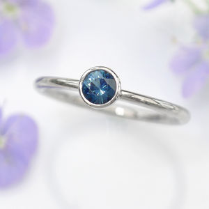 Blue Sapphire Platinum Engagement Ring - birthstone jewellery gifts