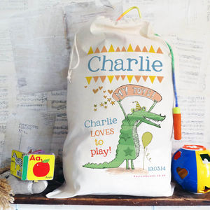 Personalised Crocodile Toy Sack - storage