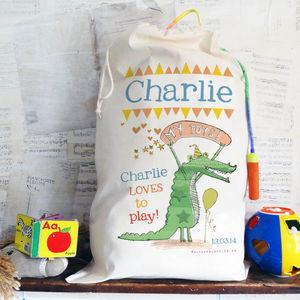 Personalised Crocodile Toy Sack
