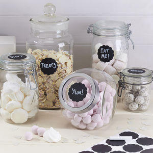 Reuseable Round Chalkboard Sticker Jar Labels - ribbon & wrap