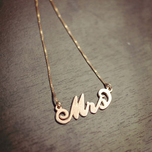 'Mrs' Necklace - gifts for the bride