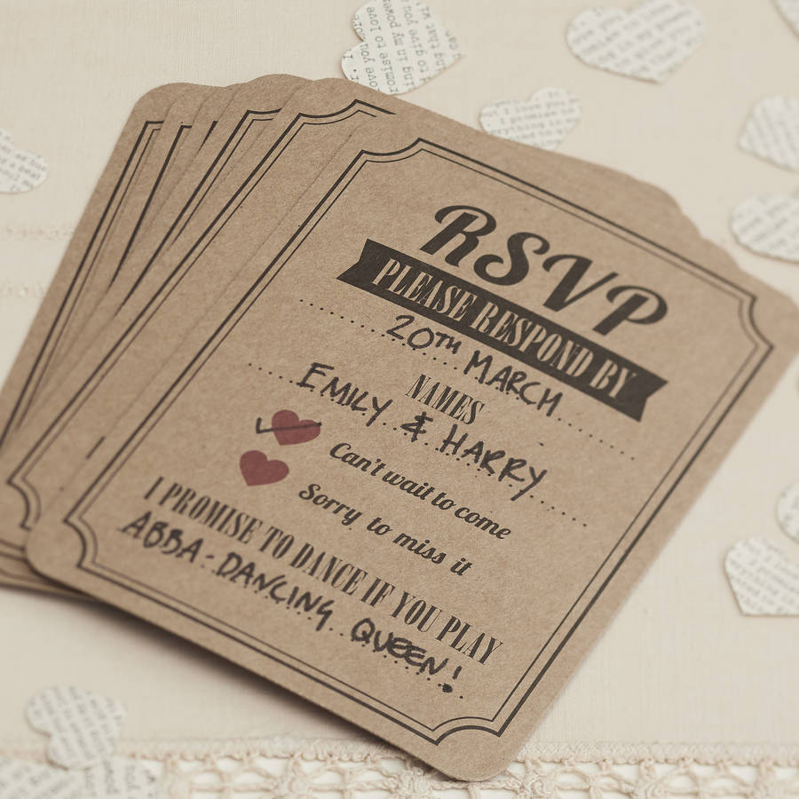 brown kraft rsvp cards by ginger ray