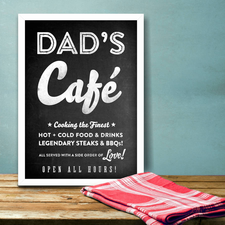 dad\'s kitchen \'café\' chalkboard print by ink & sons ...