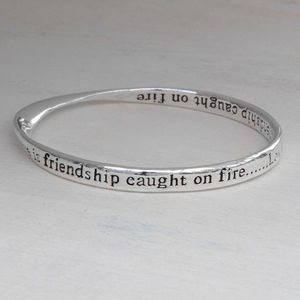 Silver Plated Love And Fire Crystal Message Bangle