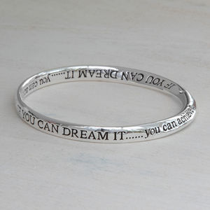 Silver Plated Dream And Achieve Crystal Message Bangle - bracelets & bangles