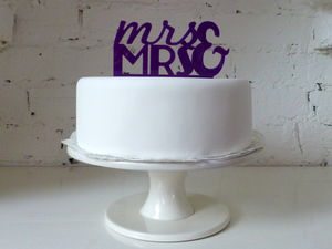 'Mrs And Mrs' Large Cake Topper