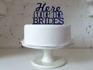 'Here Come The Brides' Cake Topper - cake toppers & decorations