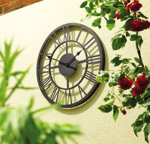 Black Roman Numeral Indoor And Outdoor Wall Clock 56cm - living room