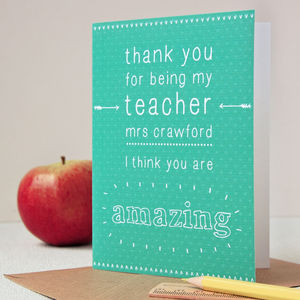 Personalised Amazing Teacher Card - thank you cards