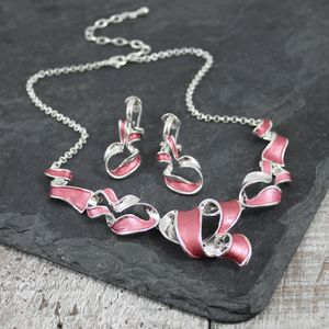 Silver Plated Twist Necklace And Earring Set