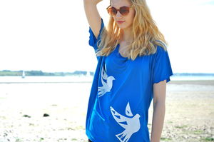 Blue Dove Hand Printed Tee - women's fashion