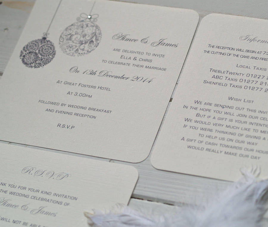 Christmas themed wedding invitations by beautiful day christmas themed wedding invitations stopboris Image collections