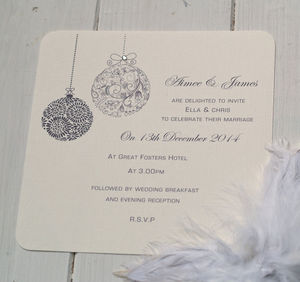 'Christmas Themed' Wedding Invitations - wedding stationery