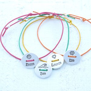 Personalised Silver Story Button Friendship Bracelet