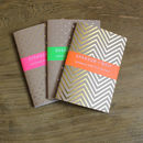 Set Of Three Gold/Silver Mixed Notebooks
