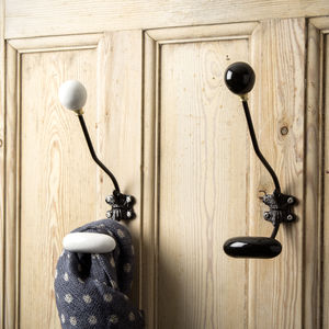 Black Or White Ceramic Wall Hook