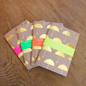 Gold Umbrella Notebook Travel Journal A6