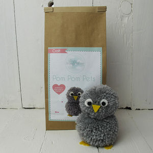 Pom Pom Pets Craft Kit Grey Owl