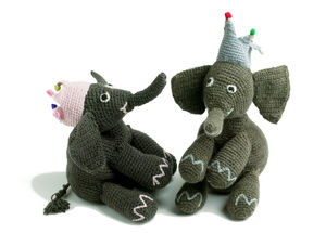 Hand Knitted Elephant With Crown - toys & games