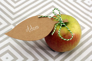 Set Of 10 Leaves To Use As Tags Or Name Cards - ribbon & wrap