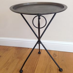 Round Metal Folding Table - living room