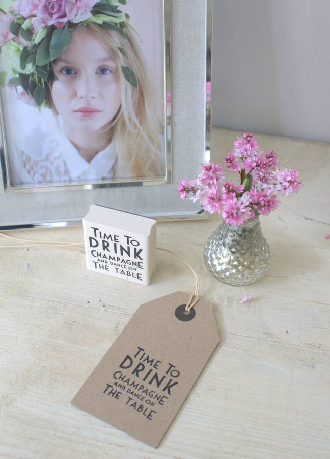 'Time To Drink Champagne …' Rubber Stamp