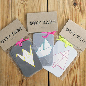 Set Of Three Origami Gift Tags