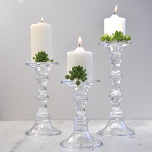 Glass Candlesticks - weddings sale