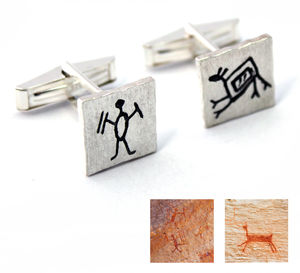 Cave Art Sterling Silver Cufflinks