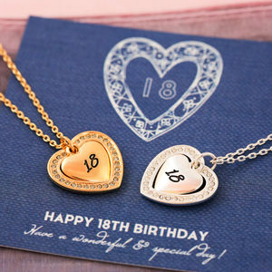 Milestone Birthday Crystal Heart Necklace - 18th birthday gifts