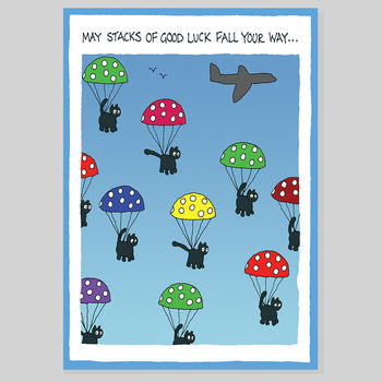Black Cat Drop Good Luck Card
