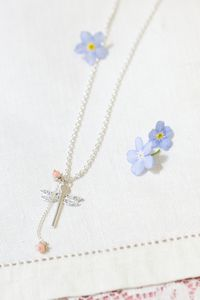 Silver Dragonfly And Flower Pendant