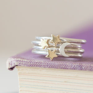 Solid Silver Lunar Moon And Stars Stacking Ring Set