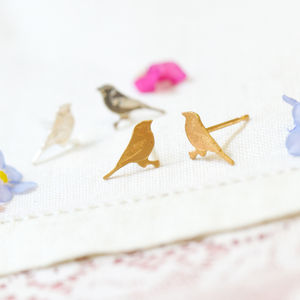 Silver Tiny Bird Stud Earrings