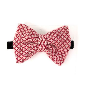 Red and Light Grey 100% lambswool Bow Tie by catherine tough